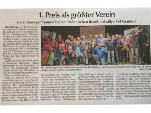 Bericht aus der Kötztinger Zeitung vom 13. Februar 2015 zur 4x4 Gradisca