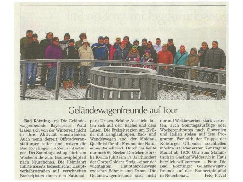 Bericht in der Kötztinger Zeitung vom 08. Februar 2013 übern unseren Auflug zum Baumwipfelweg Neuschönau