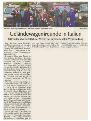 Bericht aus der Kötztinger Zeitung vom 12. Dezember 2013 über unsere Teilnahme an der Gradisca 4x4