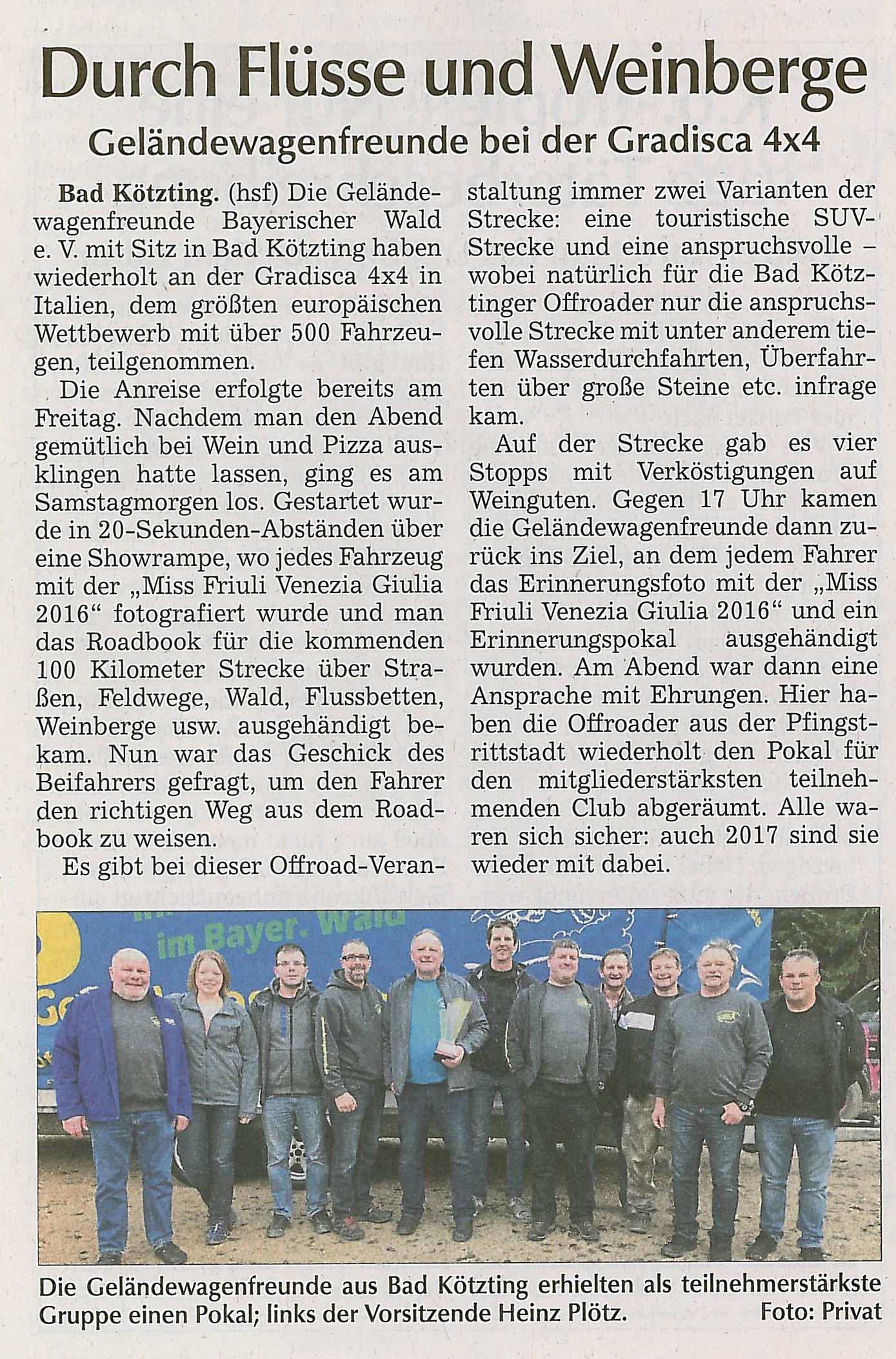 Kötztinger Zeitung vom 21.12.16 zur Gradisca